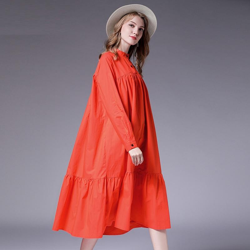 Autumn new plus size women 39 s loose dresses Pure cotton casual Elegant long dresses oversize high waist Mandarin neck XL 4XL in Dresses from Women 39 s Clothing