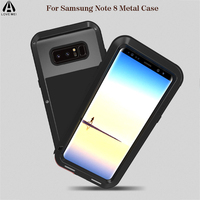 2017 New For Samsung Galaxy Note 8 Case Luxury Brand Hard Aluminum Metal Bumper+Silicone Armor Protective Back Phone Case Cover