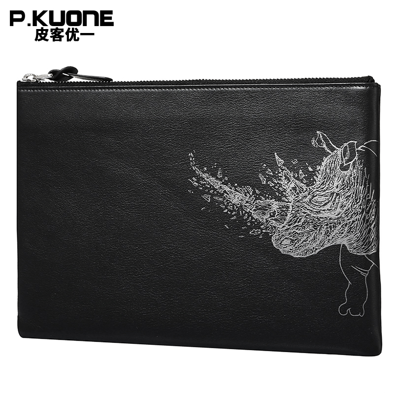 P.KUONE Brand Hand painted Rhino Genuine Leather Men Clutch Bags Cow Leather Wallet Male Simple Design Wallet Men's Envelope Bag перфоратор makita hr2800