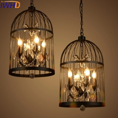 IWHD 4 Heads Iron Cage Vintage Lamp Industrial Pendant Lights Fixteres Loft Style candle Retro Crystal Pendant Lights Lamparas iwhd 8 heads iron cage vintage industrial pendant light led loft style candle bulb retro crystal pendant lights home lighting