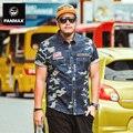 Мужчины мода рубашка 2016 лето хип-хоп Синий Камуфляж мужчины рубашка с коротким рукавом причинная мужской одежды свободные рубашки хлопка плюс размер 6XL