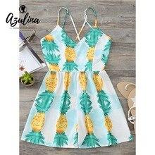AZULINA Floral Criss Cross Romper Women Spaghetti Strap V Neck Sleeveless Pineapple Playsuit 2018 Summer Beach