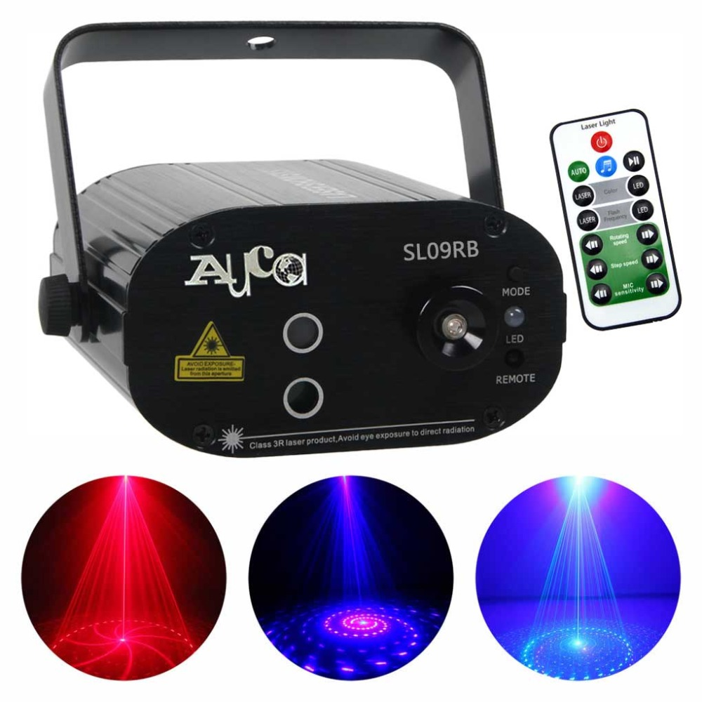 AUCD Mini 9 Patterns Blue LED Red Laser Lens Lights Effect Portable  Projector 3W Disco DJ Party Show Club Stage Lighting SL09RB 763323f90517