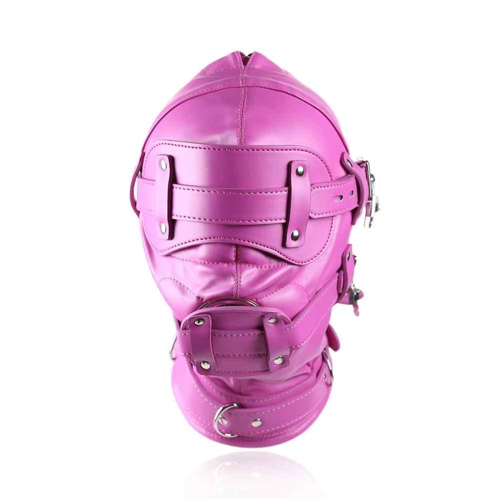 Кожаный капюшон маска с повязкой на намордник пенис кляп Фетиш бандаж сдерживающие повязки БДСМ Эротика для взрослых Секс-игрушки для флирт пары