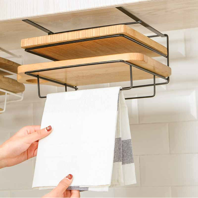 Double Layer Storage Holder Cutting Board Rack Iron Free Punch Hanging Shelf For Chopping Board Cupboard Rack Kitchen Organizer