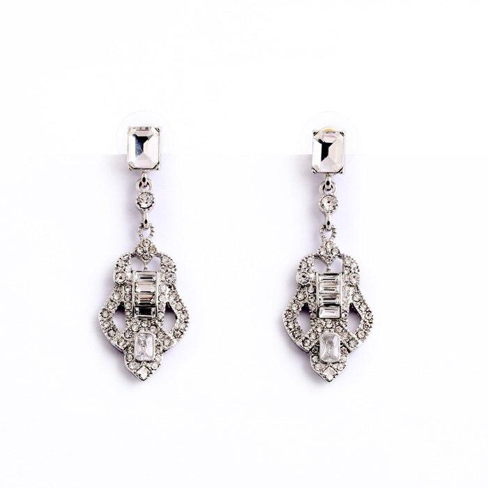 Art Deco Glass Zinc Alloy Hot Sale Hanging Earrings Female Silver Color Jewelry Flashing Diamante Guitar Shape Crystal Earrings