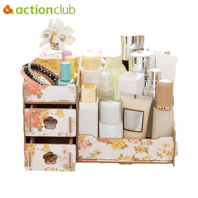 Actionclub Wood Storage Box Jewelry Container Makeup Organizer Case Handmade DIY Assembly Cosmetic Organizer Box Wooden Box makeup organizer box