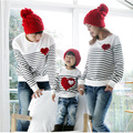 2017 Family Matching Outfits Spring mom/dad/child clothes, mom and daughter striped long-sleeve Cotton T-shirt Family Pack