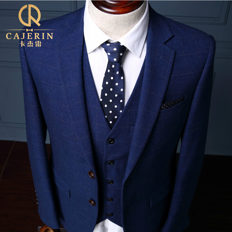 Plaid Royal Blue Tuxedo Skinny Groom Wedding Suits Dress Mens 3 ...