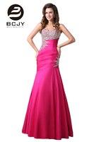Luxuoso Cristal Sereia Longos Vestidos de Noite 2017 Querida Rose Red Pageant Prom Vestidos Formais Vestido de Noite Vestidos