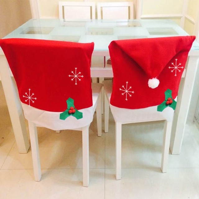 1 Pc Christmas Decoration Non Woven Snowflake Chair Covers Dinner Table Decor Red Hat