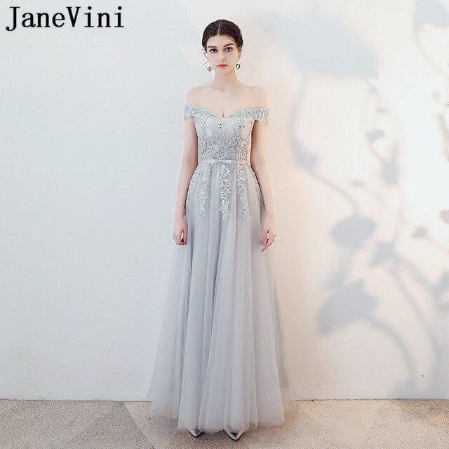 4cec99bee55 JaneVini gris clair longue femmes robe de soirée de mariage dentelle  Appliques paillettes perles formelle bal