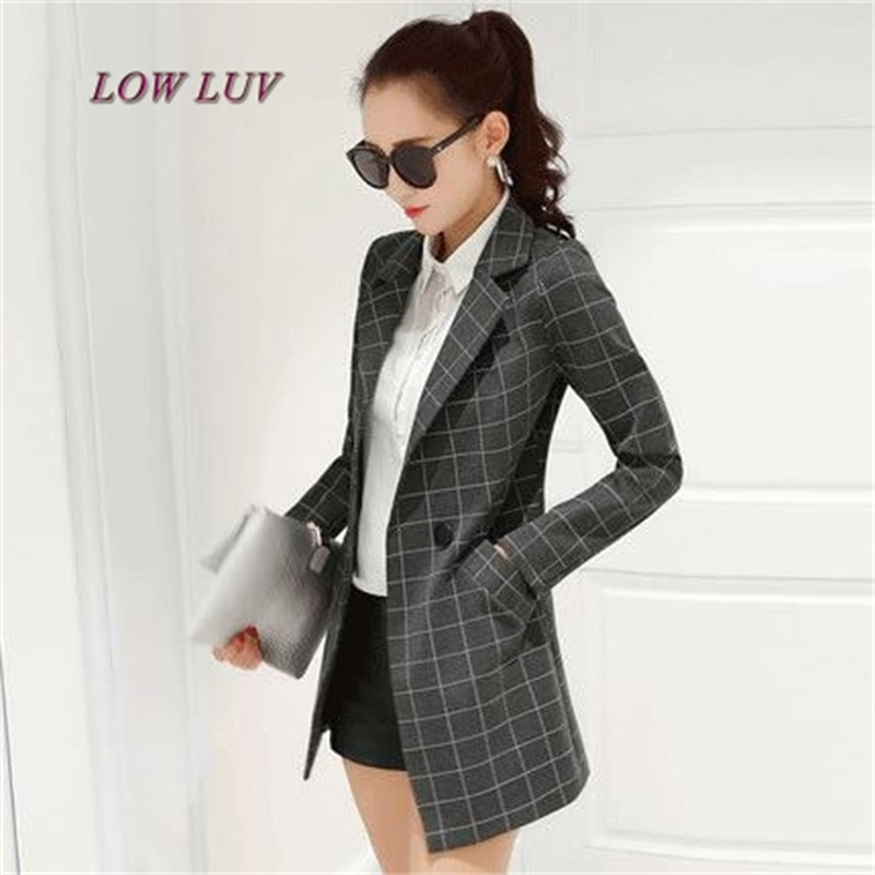 Black Womens Jacket 2017 Spring and Autumn New Jacket Jacket Long Style Lattice Long Sleeve Casual suit