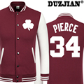 2016 Spring new Celtics The truth Paul Pierce casual jacket cheap men winter jackets male coat boys jacket hip hop youth jackets