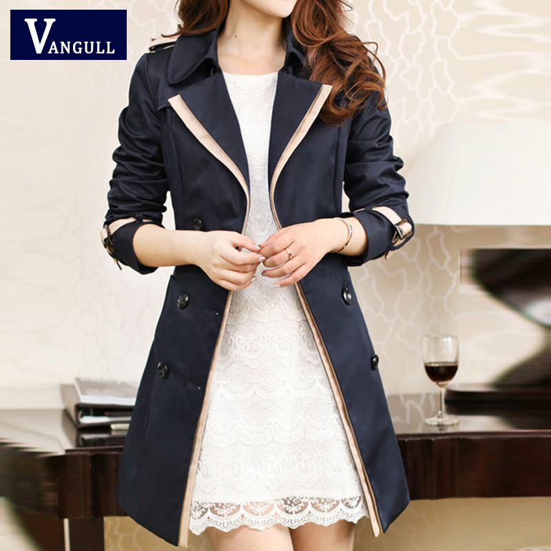 VANGULL Trench Coat For Women 2016 Fashion Turn-down Collar Double Breasted Contrast Color Long Coats Plus Size Casaco Feminino 1