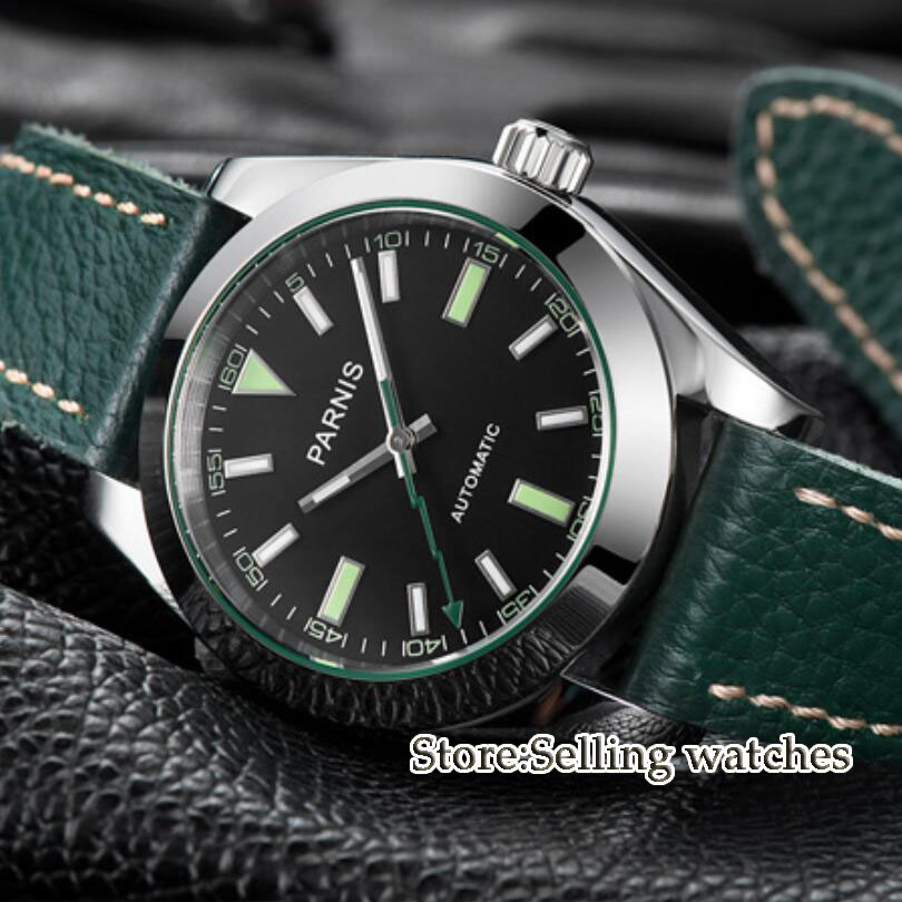 40mm Parnis Watch Mechanical Sapphire Crystal Casual Leather Miyota 8215 Men's Automatic Watch watch crystal