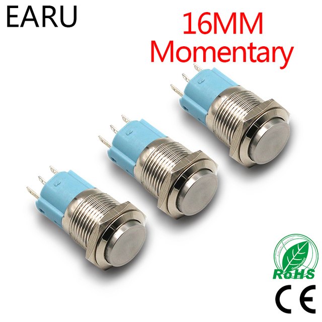 16mm Momentary Stainless Steel Metal Doorbell Push On Switch High Head Car Auto Engine