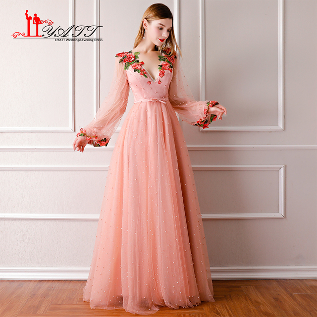 New 2018 Spring Custom Made Evening Prom Dress Long Sleeves Princess Hot  Sale Peach Pink 3D Lace Flower Heavy Beading Pearls ba89594cff93