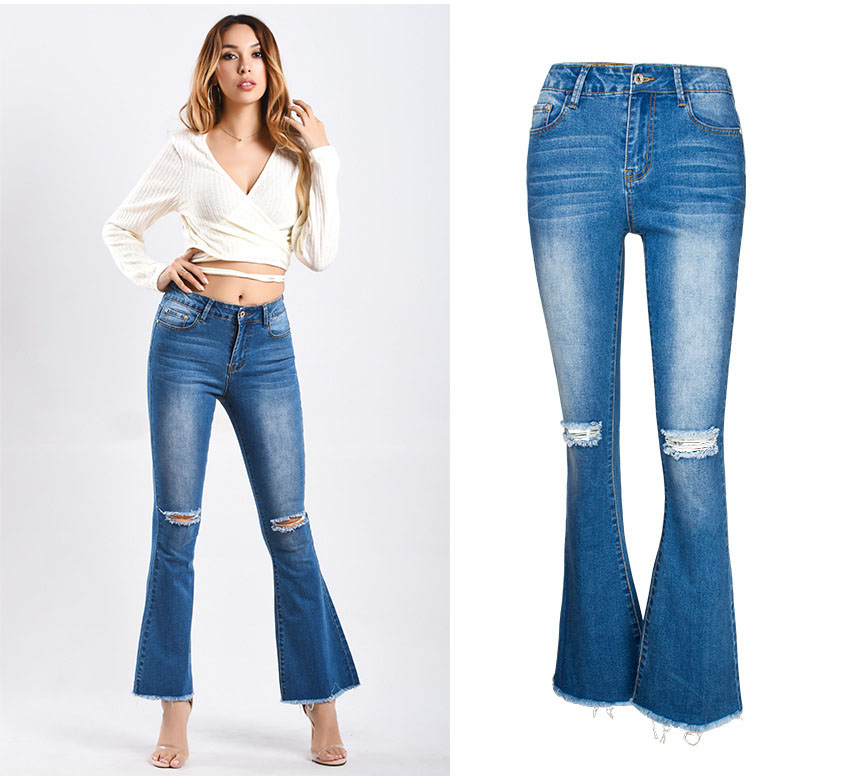 Women\`s dress of Europe and America 2018 new wide leg trousers jeans denim flared trousers women\`s worn-out edge trousers (4)