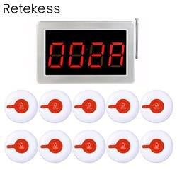 433MHz Wireless Calling System Restaurant Pager 1pcs Receiver Host + 10pcs Call Transmitter Button Restaurant Equipment F3287B
