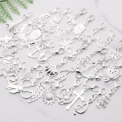 Mix Lobster clasp charm floating pendant jewelry findings fit Pandora Charms diy Bracelets Jewelry Making 50pcs/lot