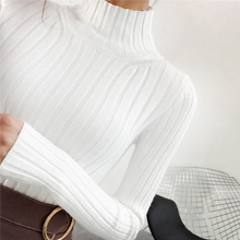 2018 White turtleneck sweater and semi small fresh female short thick slim tight long sleeved all-match knitted shirt цены