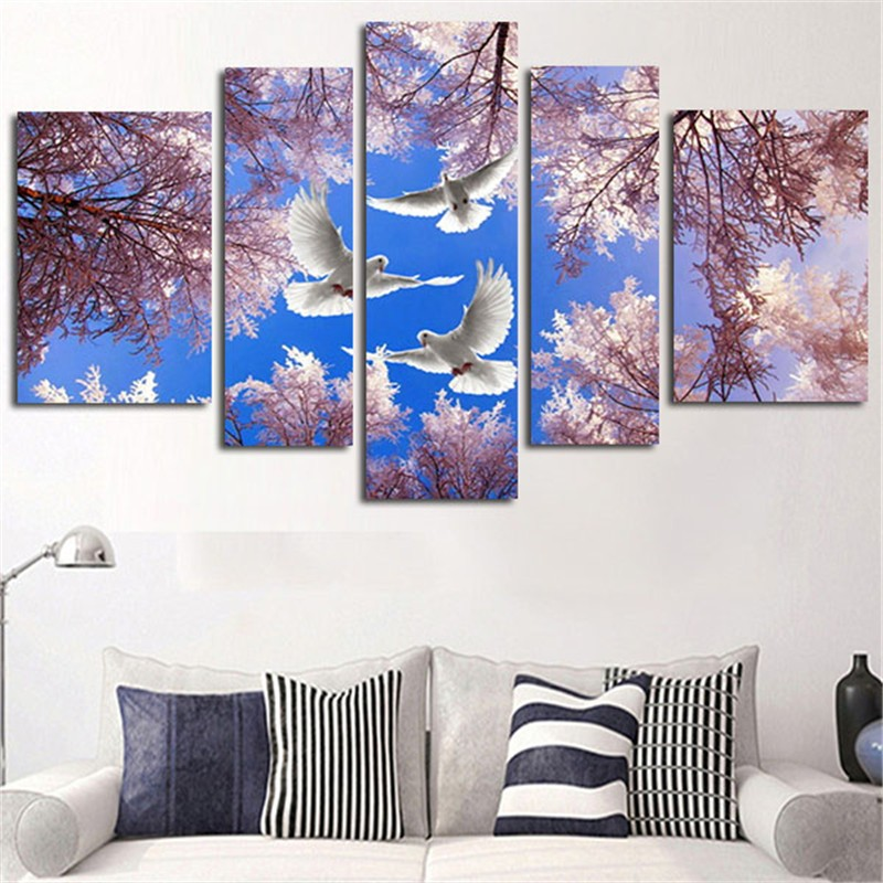 Canvas Painting Print Modular 5 Pcs Cherry Trees And Dove Landscape Poster Wall Art Pictures Minimalism Bedroom Home Decor Frame(China)