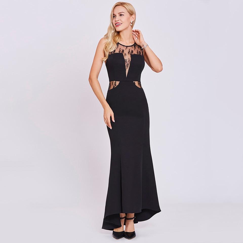 Dressv Black Long Evening Dress Cheap Scoop Neck Zipper Up Sleeveless Lace Wedding Party Formal Dress Mermaid Evening Dresses