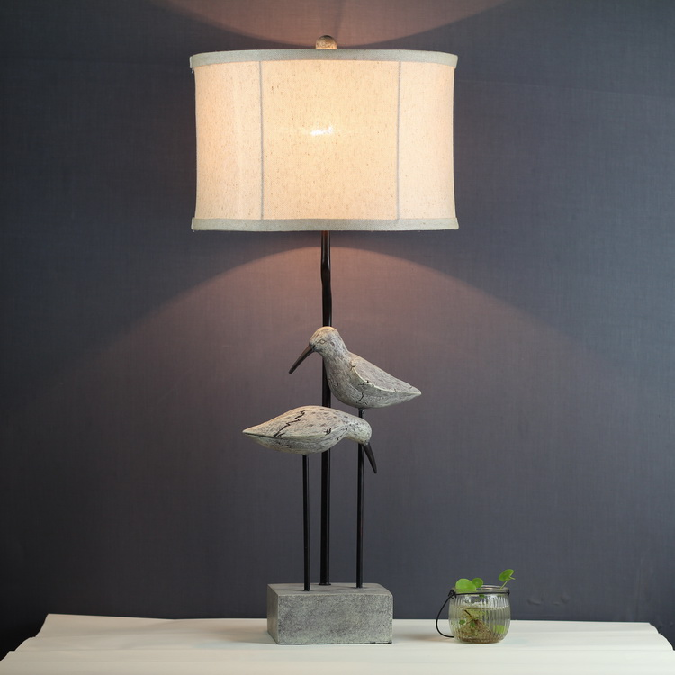 Decorative table lamp living room study bedroom bedside French garden retro birds warm desk lamps white tabe light ZA99656 стоимость
