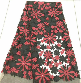 Red Black 3D Lace Fabric Luxury Fabric Nigerian French Tulle Lace Fabric Dribbling Embroidered African Beaded French Lace Fabric