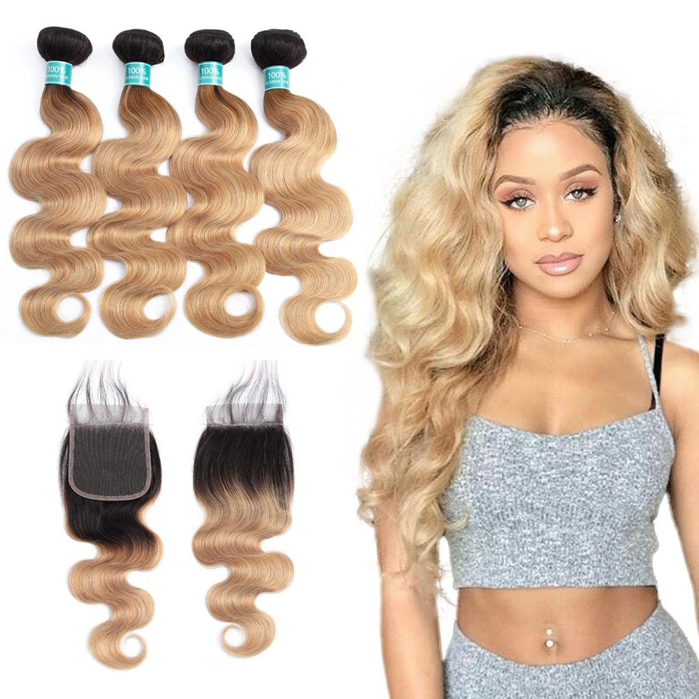 Ombre Indian Hair Weave Body Wave Hair Bundles with Closure 1b 27 Blonde Ombre Human Hair
