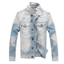 MORUANCLE New Men's Washed Denim Jackets Turn Down Collar Casual Jean Trucker Jacket For Male Blue And White Size M-4XL