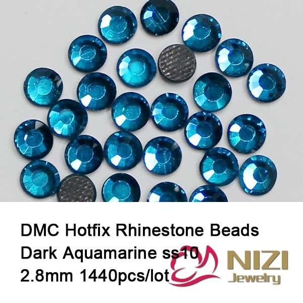 1440 pcs ss10 dark aquamarine Free shipping DMC hot fix rhinestones flat back rhinestones High Quality