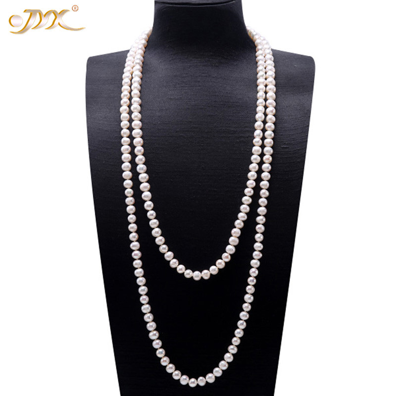 JYX Pearl Sweater Necklaces Long Round Natural White 8-9mm Natural Freshwater Pearl Necklace Endless charm necklace 328sale(China)