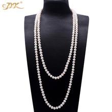 JYX Perle Pullover Halsketten Lange Runde Natürliche Weiß 8 9mm Natürliche Süßwasser Perle Halskette Endlosen charme halskette 328 verkauf