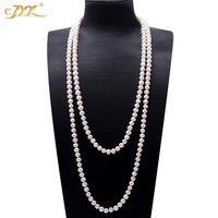 JYX Pearl Sweater Necklaces Long Round Natural White 8 9mm Natural Freshwater Pearl Necklace Endless charm necklace