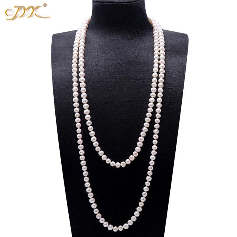 JYX perle chandail colliers Long rond naturel blanc 8-9mm naturel eau douce collier de perles sans fin charme collier 328 vente