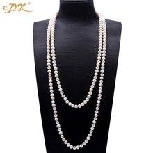 JYX sweter z perełkami naszyjniki długi okrągły naturalna biel 8 9mm naturalna perła słodkowodna naszyjnik niekończący się naszyjnik charms 328 sprzedaż
