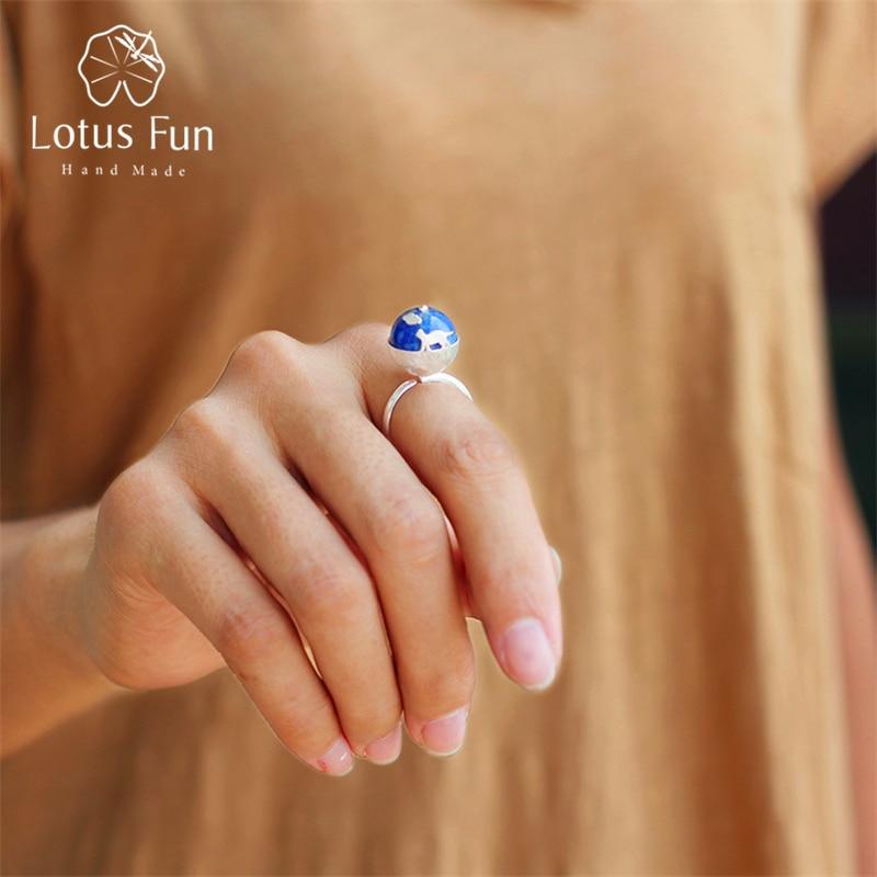 Lotus Fun Real 925 Sterling Silver Natural Lapis Stone Original Handmade Designer Fine Jewelry Cats Dream Female Rings Bijoux
