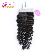 XBLHAIR Deep Wave Lace Closure Middle Part With Baby Hair 130 Density Peruvian Human Hair Natural