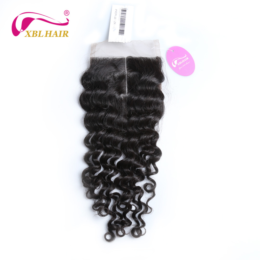 XBLHAIR Deep Wave Lace Closure Middle Part With Baby font b Hair b font 130 Density