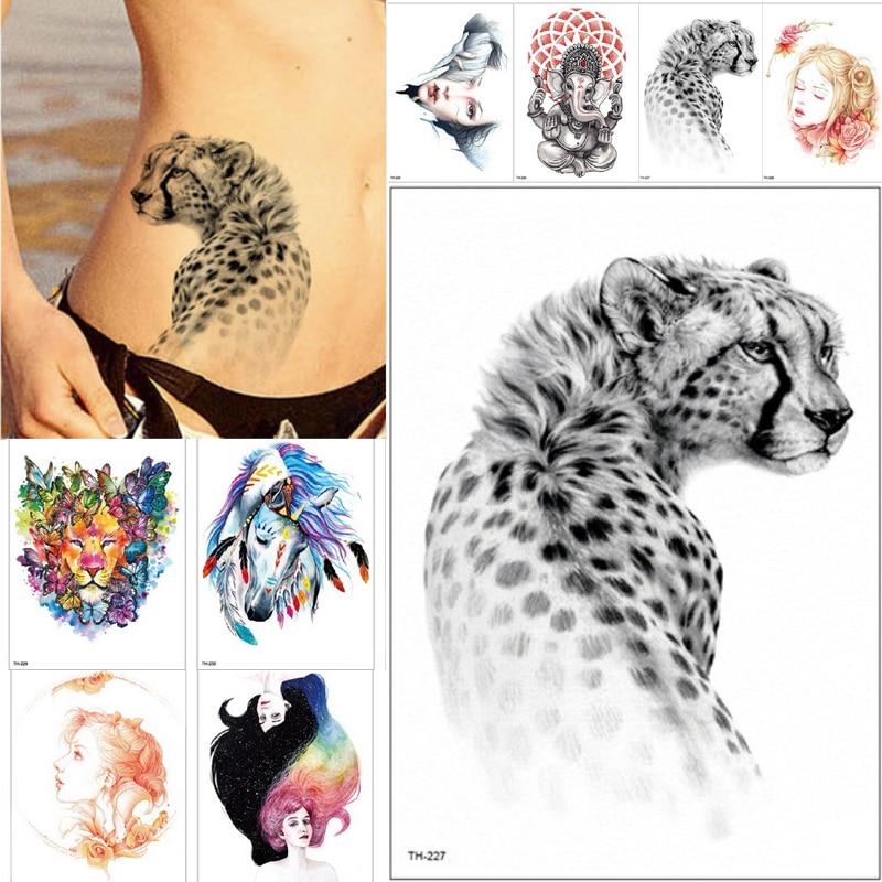 21*15cm New Waterproof Temporary Tattoo Sticker Wolf Tiger Animals Pattern Tattoo Water Transfer Body Art Fake Tattoo Women Men
