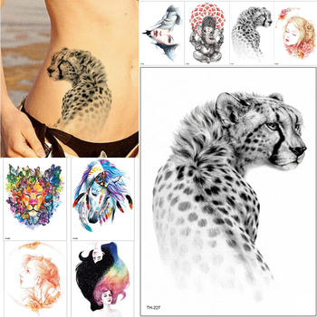 21*15cm new Waterproof Temporary Tattoo Sticker wolf tiger animals pattern tattoo Water Transfer body art fake tattoo women men