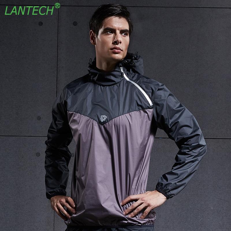 LANTECH Men Hot Sweat Jacket Running Jacket Sports Sportswear Sauna Run Training Fitness Exercise Gym Jacket Clothes Long Sleeve