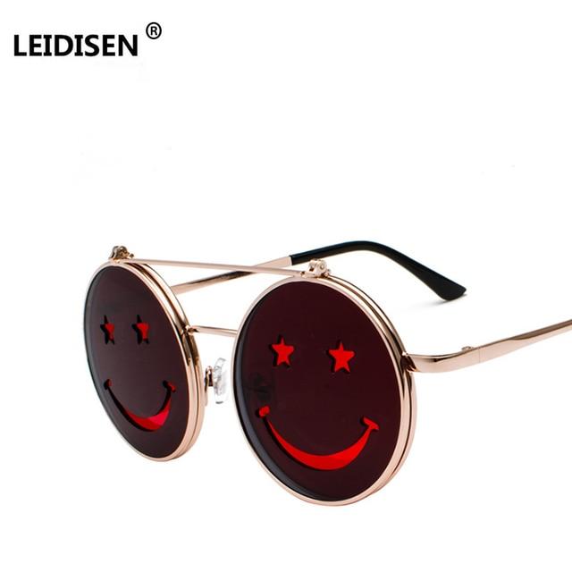 a9d5a5c6301 LEIDISEN Steampunk Sunglasses Men Women Metal Eyeglasses Round Smiley Design  Retro Steam Punk Clamshell Sun Glasses UV400
