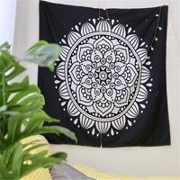 Black and White Bohemian Mandala Tapestry Microfiber Fabric Mandala Wall Hanging Decoration 2 Sizes Home Boho Decor Drop Ship