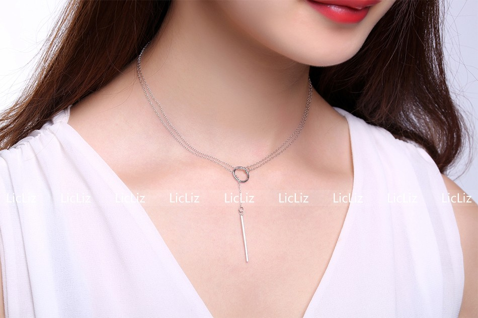 LicLiz Unique 925 Sterling Silver Circle Simple Strip Bar Pendant Necklaces Adjustable Chain Necklaces for Women Wedding LN0194 7