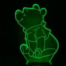 Lovely Winnie Led Night Light The Pooh Sensor Decor Bear 3d Lamp Teenager's Favorite Mr Sander USB Nightlight Bedside 3D Optical цена