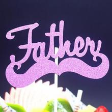 DIY Happy Fathers Day Birthday Father Moustache Cake Flag Topper For Party Baking Decor