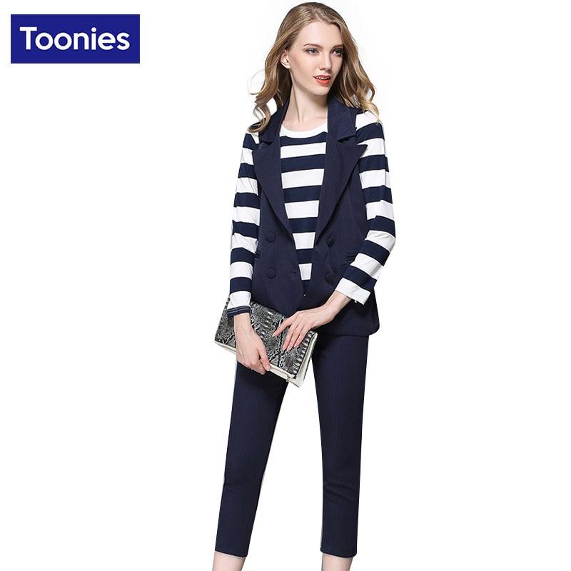 Plus Size Fashion Formal Stripe Shirt Sleeveless Waistcoat Vest + Nine Pants Casual Elegant Three Suit Office Ladies Suit Sets